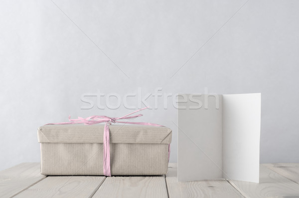 Simply Wrapped Gift Box with Icy Pink Raffia tie and Greeting Ca Stock photo © frannyanne