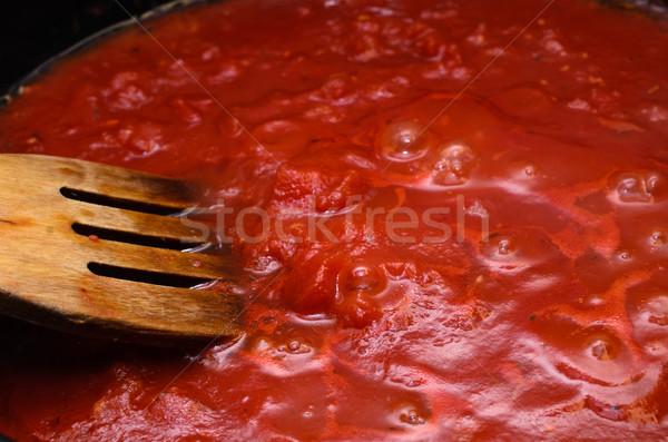 Molho de tomate cozinhar panela quente macarrão Foto stock © frannyanne