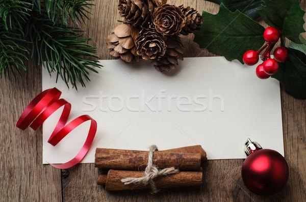 Foto stock: Navidad · mensaje · decoraciones · tiro · tarjeta · roble