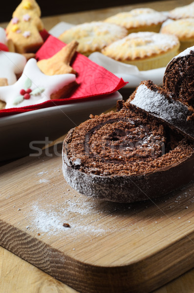 Christmas Buffet with Chocolate Yule Log, Biscuits and Mince Pie Stock photo © frannyanne
