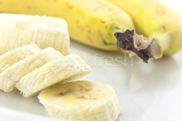 Bananas Peeled, Unpeeled and sliced Stock photo © frannyanne