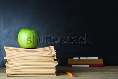 School Blackboard and Teacher's Desk Stock photo © frannyanne