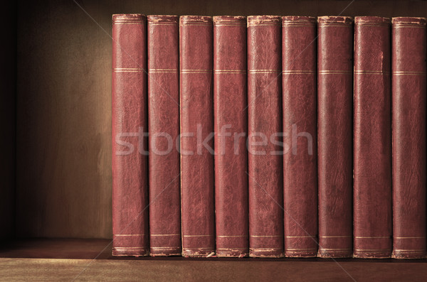 Row of Old Books on Shelf with Vintage Effect Stock photo © frannyanne