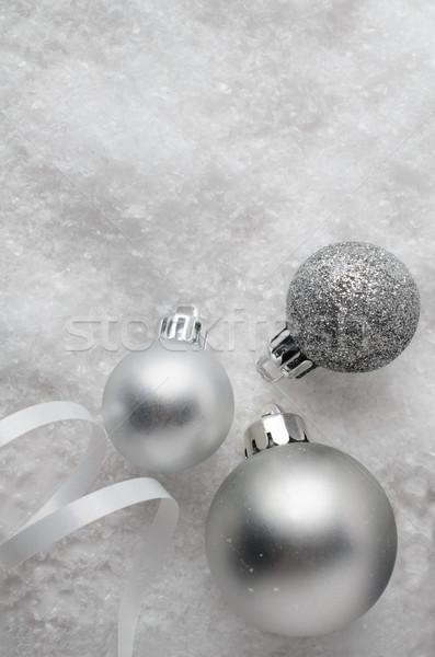 Ezüst karácsony hó három gömb alakú lövés Stock fotó © frannyanne
