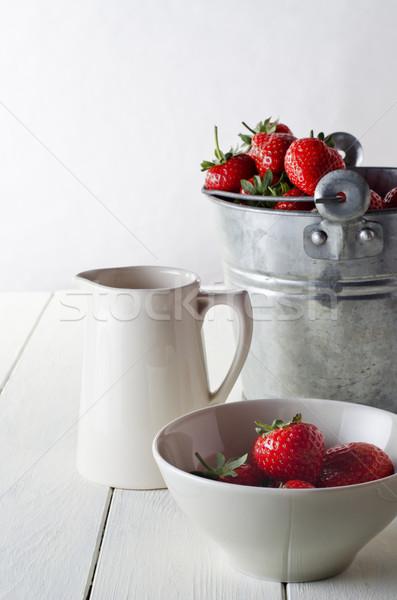 Rustic Strawberry Table Scene Stock photo © frannyanne