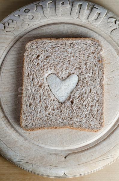 Fetta rosolare pane bianco cuore vintage Foto d'archivio © frannyanne