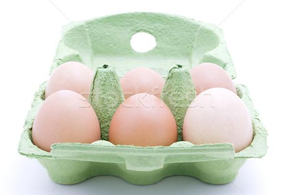 Sei uova cartone metà dozzina verde Foto d'archivio © frannyanne