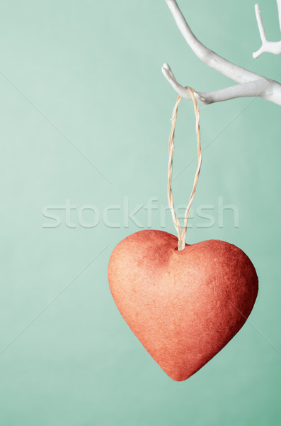 Red Heart Hanging from Tree against Turquoise background. Stock photo © frannyanne