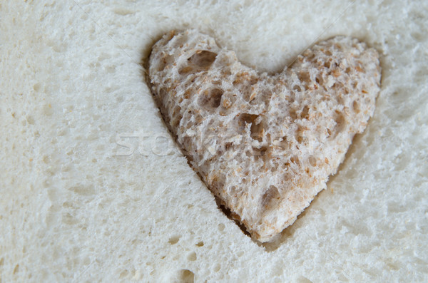 Brown Bread Heart Inside White Bread Stock photo © frannyanne