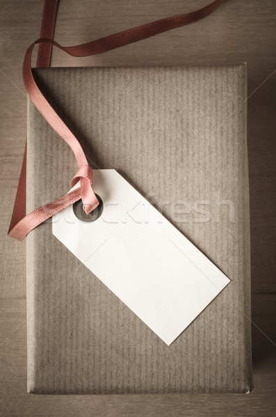 Overhead Gift Box and Label Stock photo © frannyanne