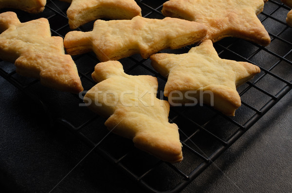 Christmas Shaped Home Made Biscuits on Cooling Rack Stock photo © frannyanne