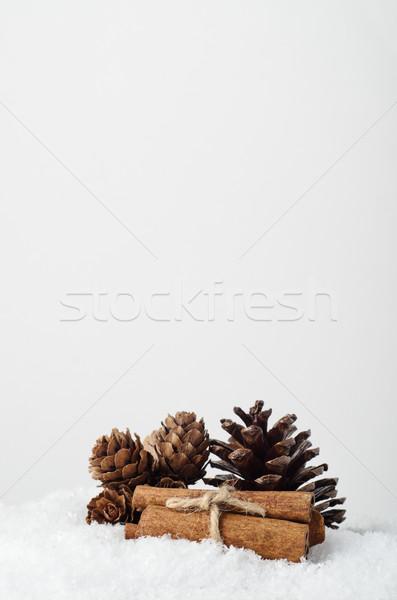 Naturales abeto canela artificial nieve Navidad Foto stock © frannyanne