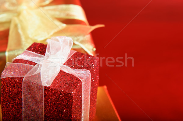 Red Gift Box with Bow Stock photo © frannyanne