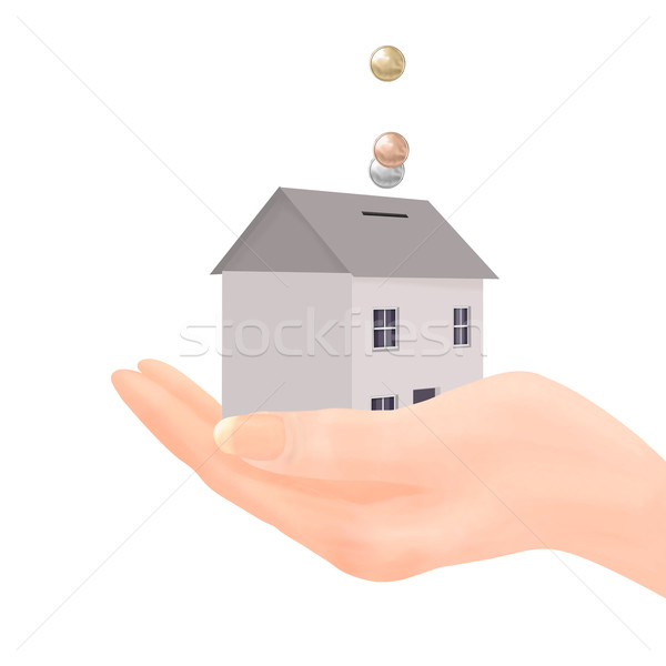 House Money Box in Hand - Generic Coins Stock photo © frannyanne