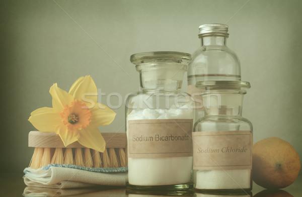 Természetes tavaszi nagytakarítás kereszt csendélet takarítás lehetőségek Stock fotó © frannyanne