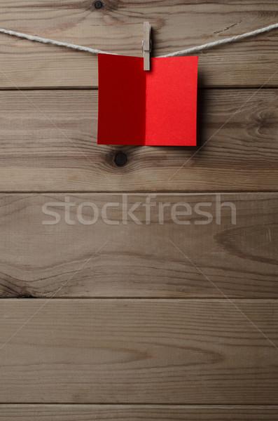 красный карт строку древесины Сток-фото © frannyanne