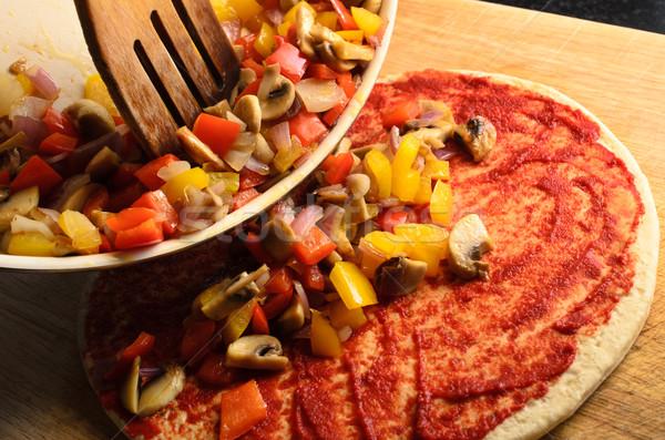 野菜 ピザ 準備 シーン 混合した フライド ストックフォト © frannyanne
