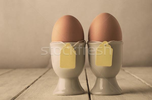 2 卵 ラベル 文字列 レトロな ペア ストックフォト © frannyanne