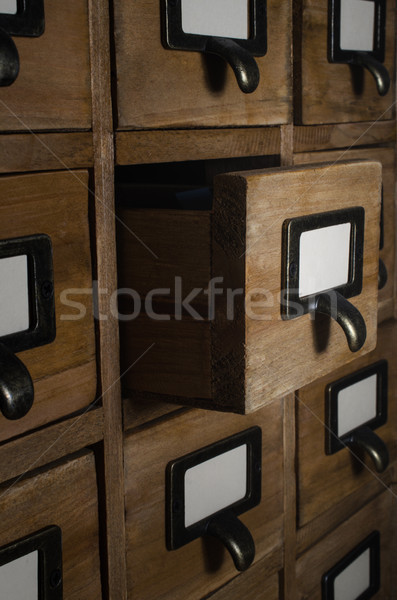Card Index Drawer Opened in Dark Room Stock photo © frannyanne