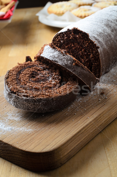 Chocolate Christmas Yule Log with Biscuits and Mince Pies Stock photo © frannyanne