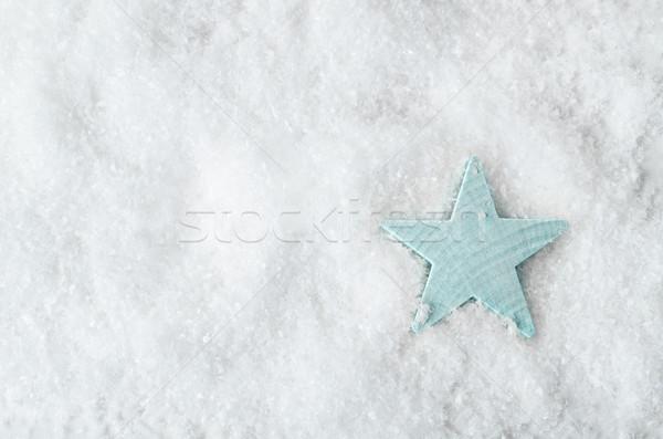 Blady niebieski star biały śniegu powyżej Zdjęcia stock © frannyanne