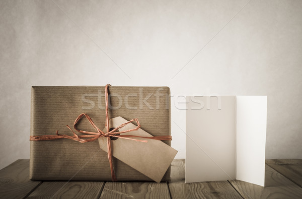 Gift with Label and Card - Vintage Style Stock photo © frannyanne