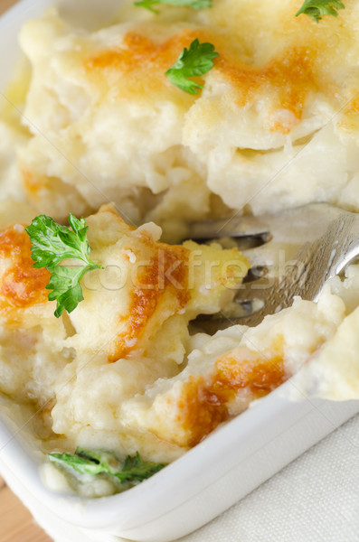 Cauliflower Cheese Serving with Fork Stock photo © frannyanne