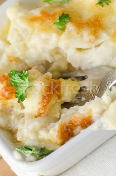 Couve-flor queijo garfo jantar cena Foto stock © frannyanne