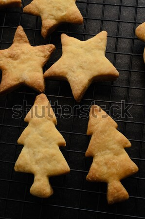 Christmas Shaped Home Made Biscuits Cooling on Rack Stock photo © frannyanne