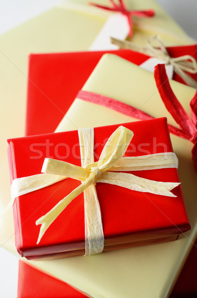 Pile of Wrapped Gifts with Bows from Above Stock photo © frannyanne
