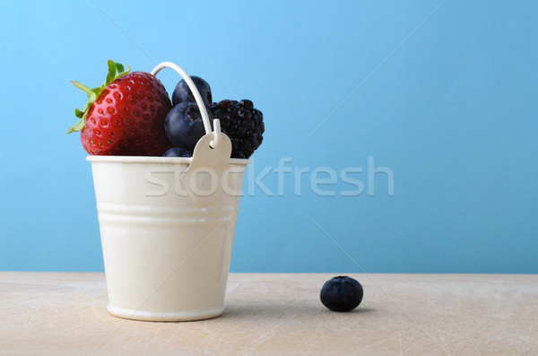 Stock photo: Metal Bucket Filled Up with Fresh Fruit Berries
