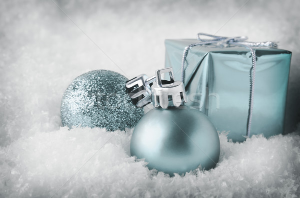 Cool Blue Christmas Decorations in Snow Stock photo © frannyanne
