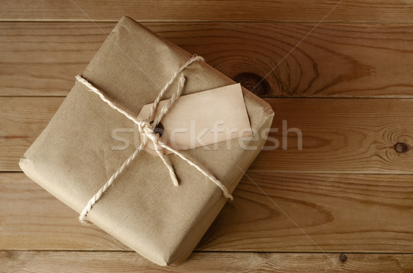 String Tied Parcel with Label Stock photo © frannyanne