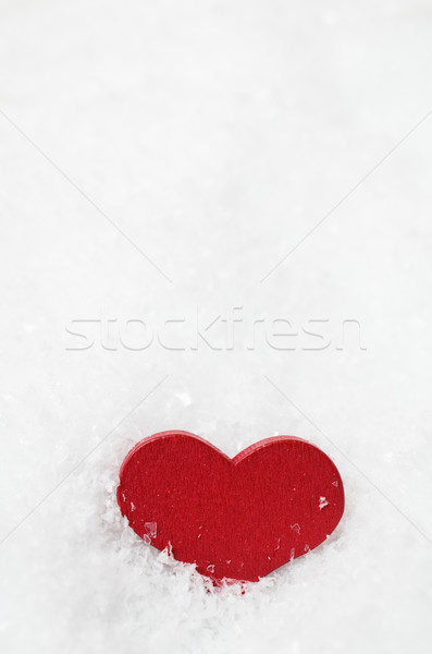 Red Wooden Heart Upright in Snow Stock photo © frannyanne