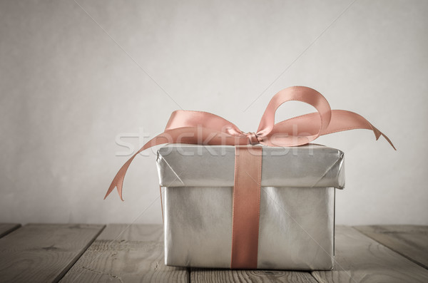 Silver Gift Box with Bow and Vintage Effect Stock photo © frannyanne