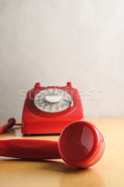 Retro Red Telephone with Off Hook Receiver Stock photo © frannyanne