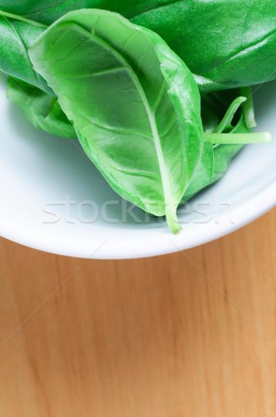 Basil Leaves in White Bowl Stock photo © frannyanne