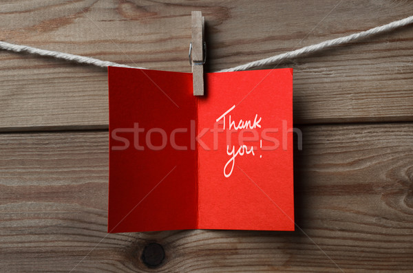 Red Thank You Card Pegged to String on Wood Background Stock photo © frannyanne