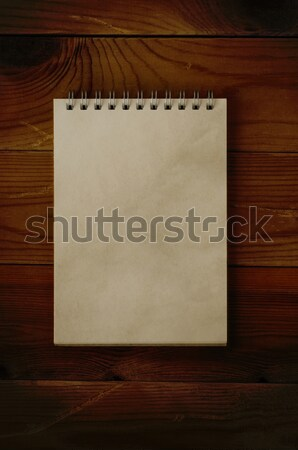 Open Notepad on Dark Wood Stock photo © frannyanne