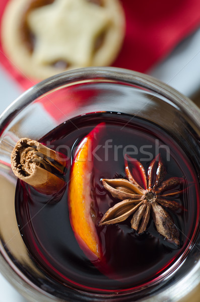 Mulled Wine and Mince Pies Overhead Close Up Stock photo © frannyanne