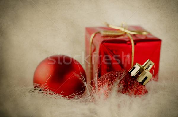 Christmas Decorations on Fur - Vintage Stock photo © frannyanne