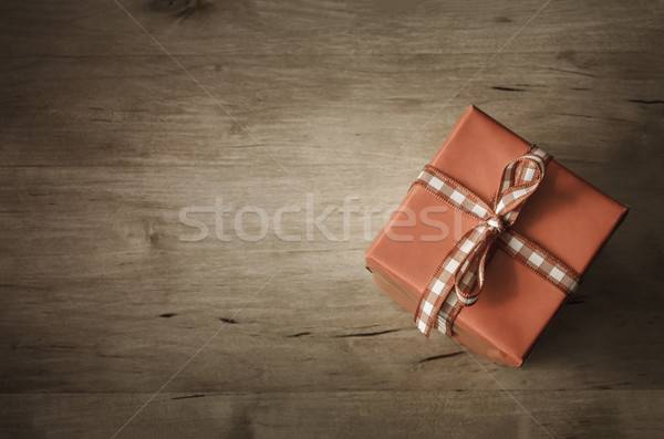 Overhead Gift Box on Wood - Angled Stock photo © frannyanne