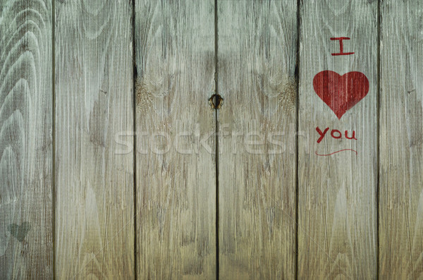 Stock photo: Love Graffiti on Weathered Old Fence