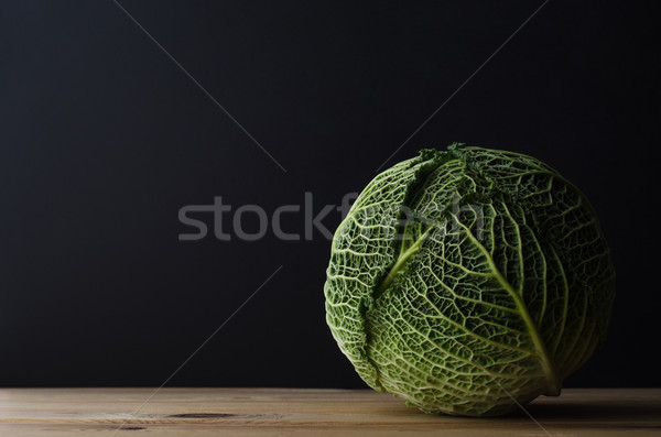Whole Cabbage on Wooden Table Stock photo © frannyanne