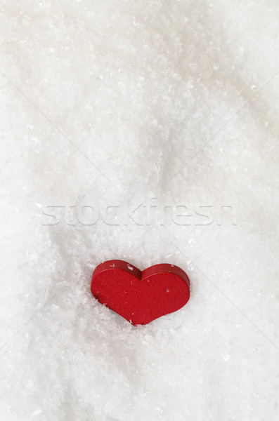 Red Heart in Snow From Above Stock photo © frannyanne