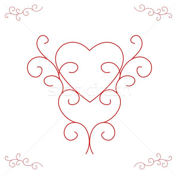 Valentine's Heart - Ornate Outlines Stock photo © frannyanne