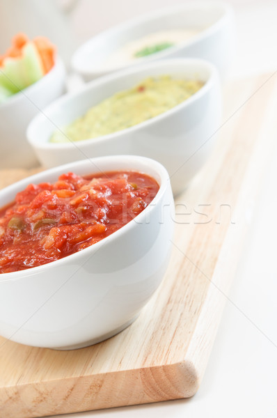 Salsa Guacamole and Hummus Dips Stock photo © frannyanne