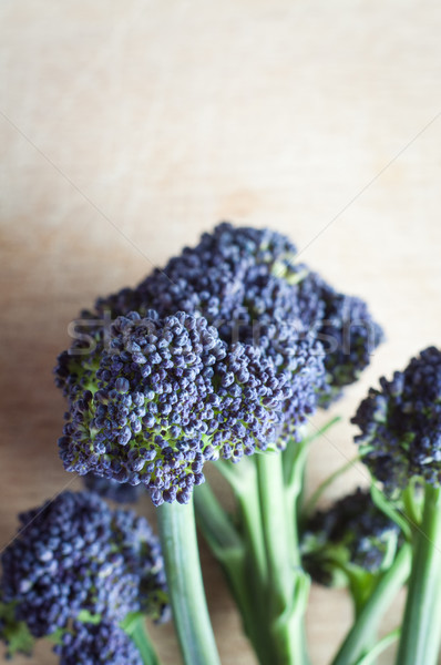 Purple Sprouting Broccoli on Light Wood Background Stock photo © frannyanne