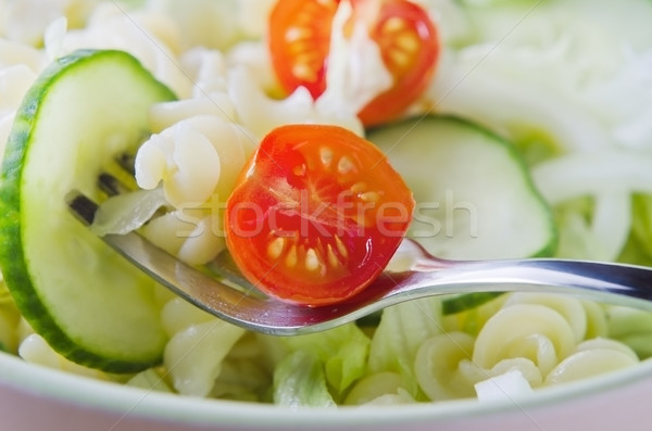 Pasta and Salad Close Up Stock photo © frannyanne