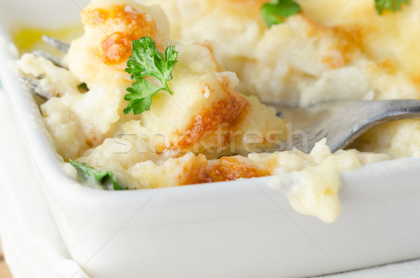 Cauliflower Cheese Dish with Fork Stock photo © frannyanne